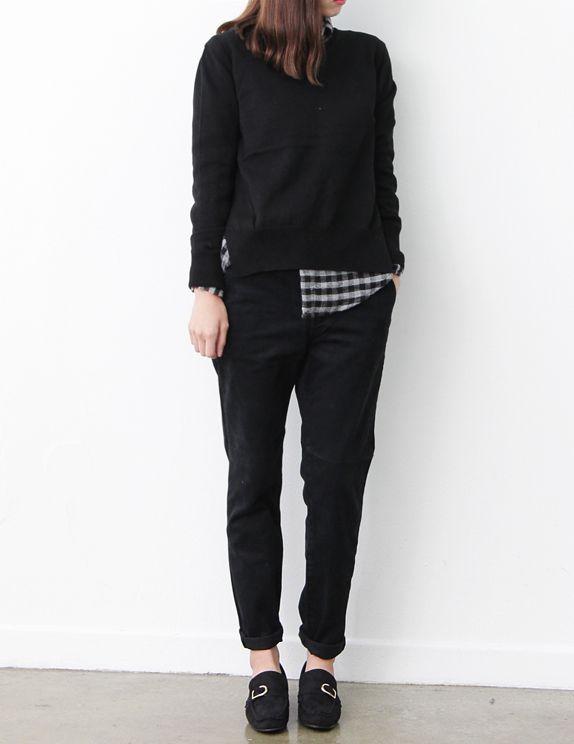 black sweater, plaid, black bottoms, black oxfords