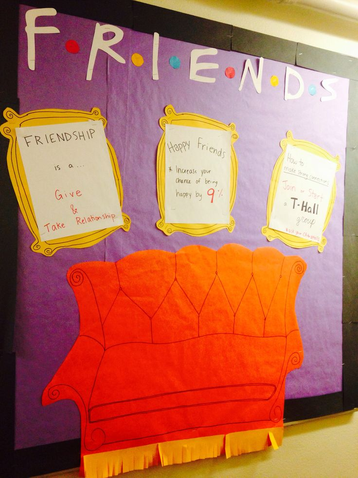 Friends TV Show themed college bulletin board.