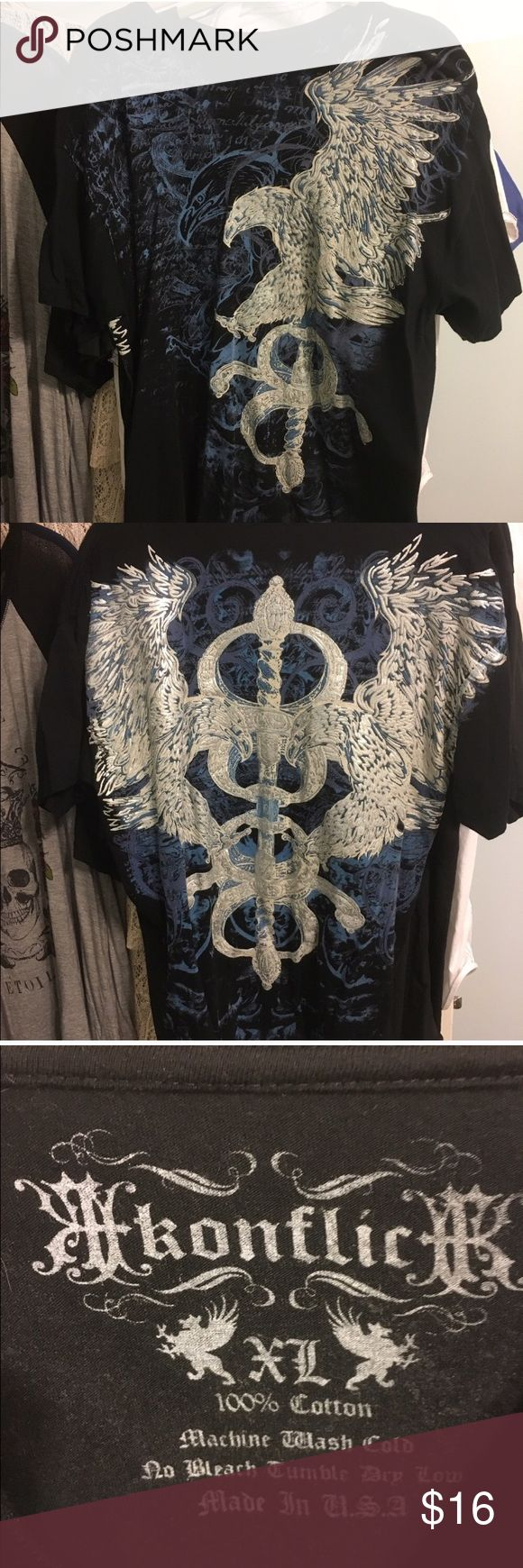 Mens Konflic Graphic Tee- Print on front & back Gently worn Mens Konflic Graphic Tee- Size XL. With Silver Eagle on Front & Wings on Back Konflic Shirts Tees - Short Sleeve
