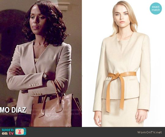 Olivia's wrap jacket on Scandal.  Outfit Details: http://wornontv.net/53675/ #Scandal