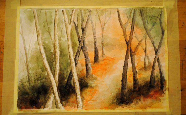 akwarela, pejzaż, kopia, watercolour, landscape
