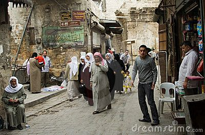 Street life in the ancient city of Aleppo, Syria, before the current violence in the country