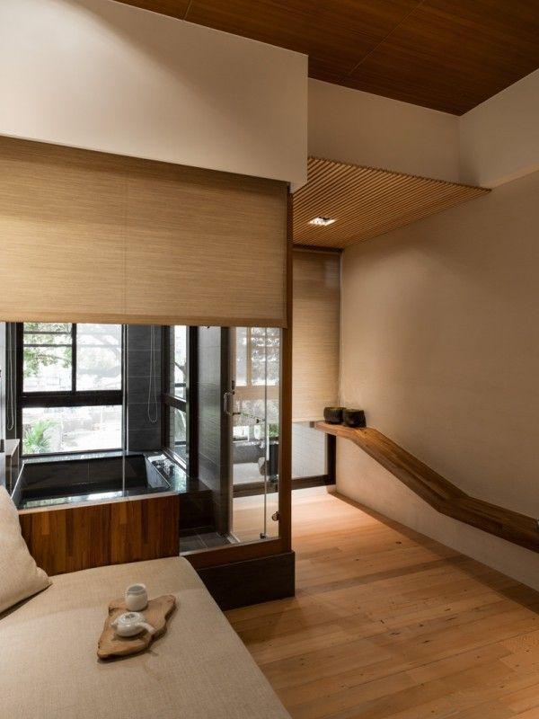 Interior Design, Glass Door Brown Wooden Ceiling White Smoke Sofa White  Smoke Cushion Glass Stalls Brown Light Wooden Floor Porcelain Tile Bathtub  Glass ...