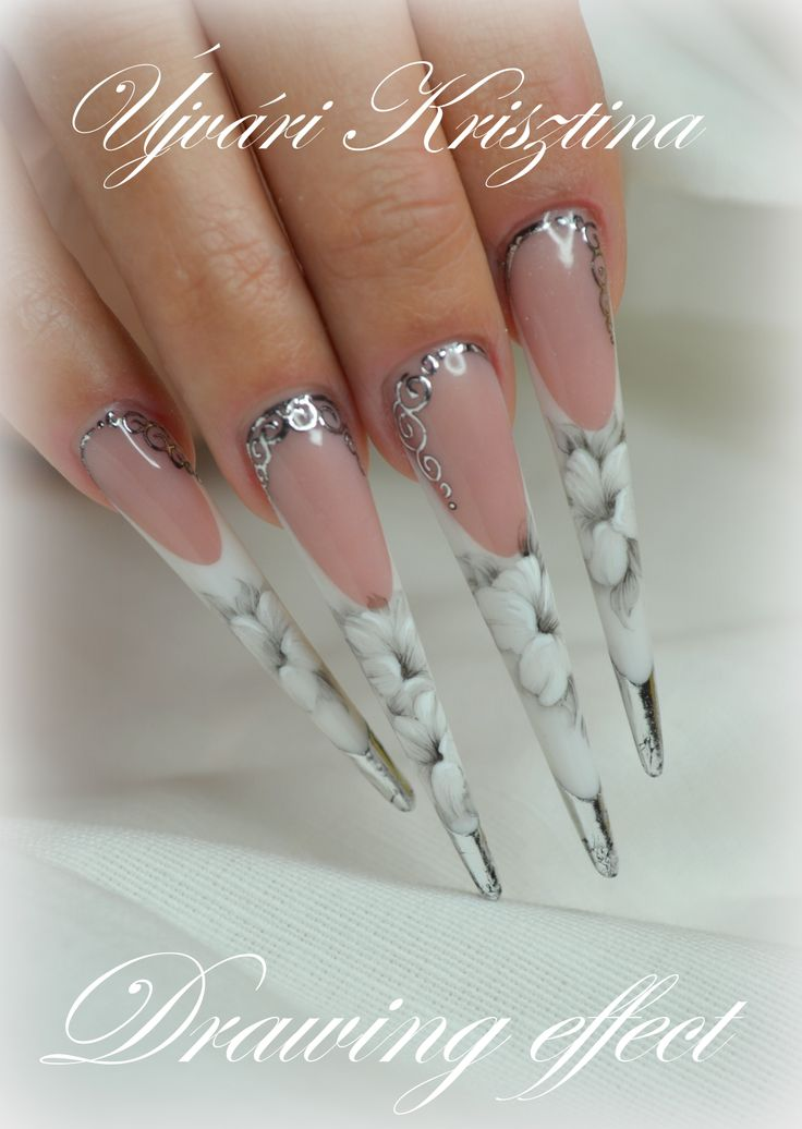Acrylic nails with handpainting