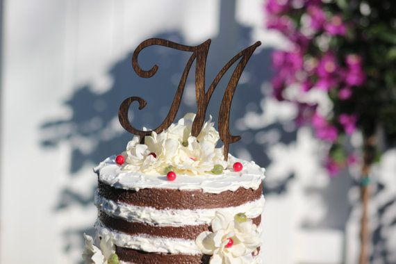 Monogram Wedding Cake topper  Wooden cake topper  by WeddingPros