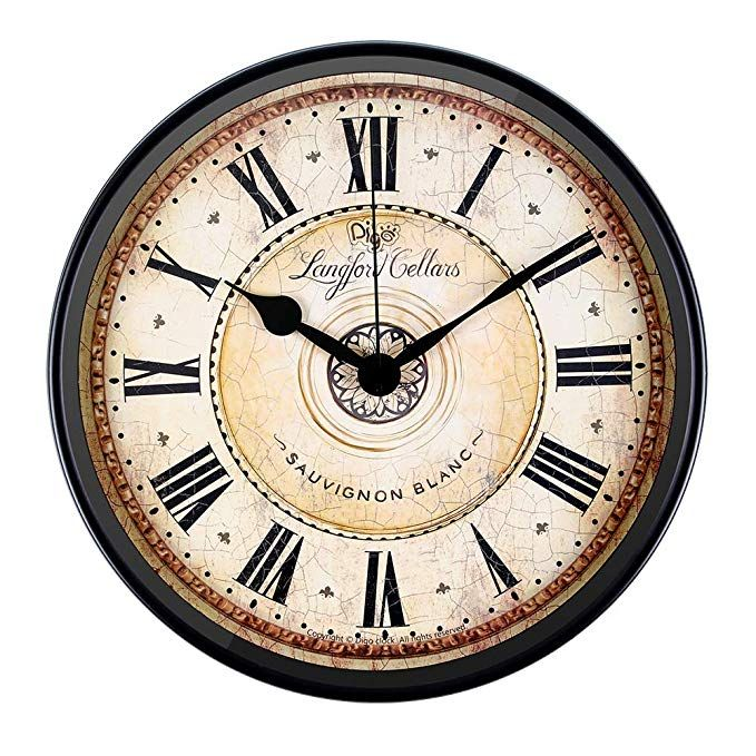 Amazon Com Justup Wall Clock 12 Inch Metal Black Wall Clock European Style Retro Vintage Clock Non Ticking Whispe Black Wall Clock Vintage Clock Wall Clock