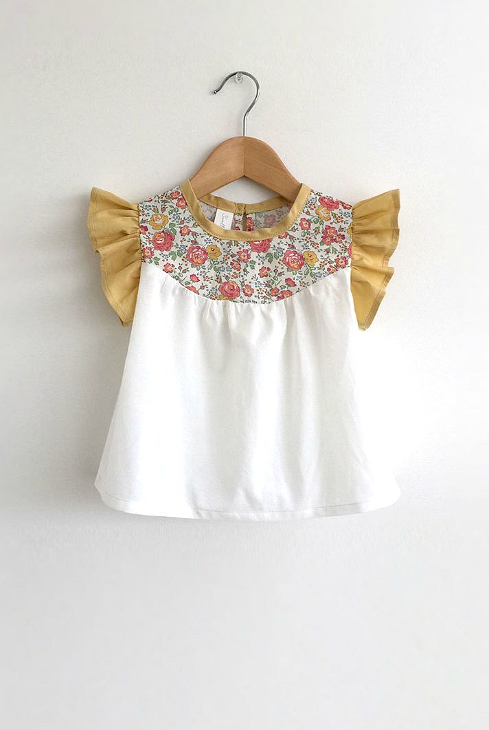 Handmade Cotton Blouse With Liberty Floral Detail | SwallowsReturn on Etsy