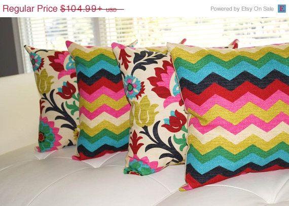 Floral Pillow, Chevron Pillow, Panama Wave Desert Flower and Santa Desert Flower Double Sided Decorative Throw Pillows - 4 Pk Free Shipping