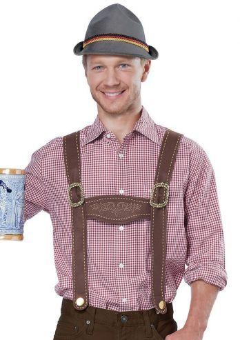 Een lederhosen set/kit voor de duitse heren waarvoor het simpel moet en niet over de top. Deze lederhosen accessoire set bestaat uit een grijze oktoberfest hoed met touwtjes als band in de duitse vlag. De bruine bretels zijn met de kenmerkende horizontale bar. Deze leuke, simpele en doeltreffende set is een productie van California Costumes.