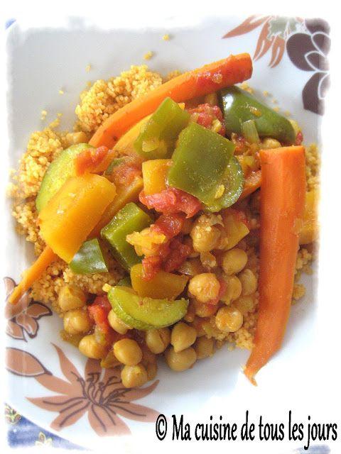 Ma cuisine de tous les jours: Couscous de légumes et pois chiches à la mijoteusé´´