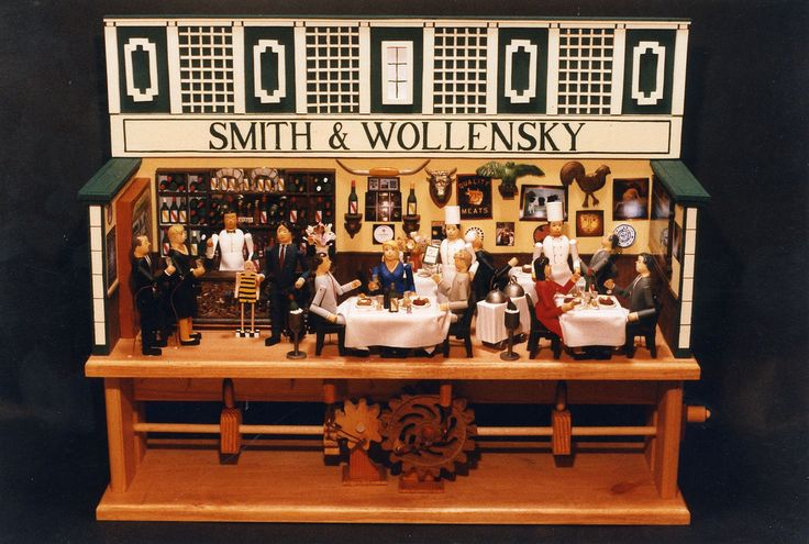 """21'H x 30""""W x 14""""D 4-1/2 characters Depicts original steak house in NYC. with miniatures of owners folk art collection as well as friends"""