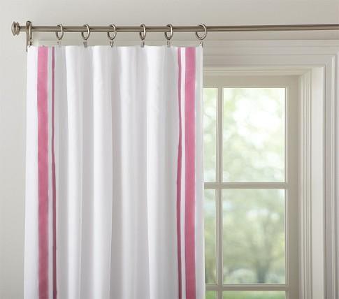 Pink trim curtains kid room ideas pinterest window for Kid curtains window treatments