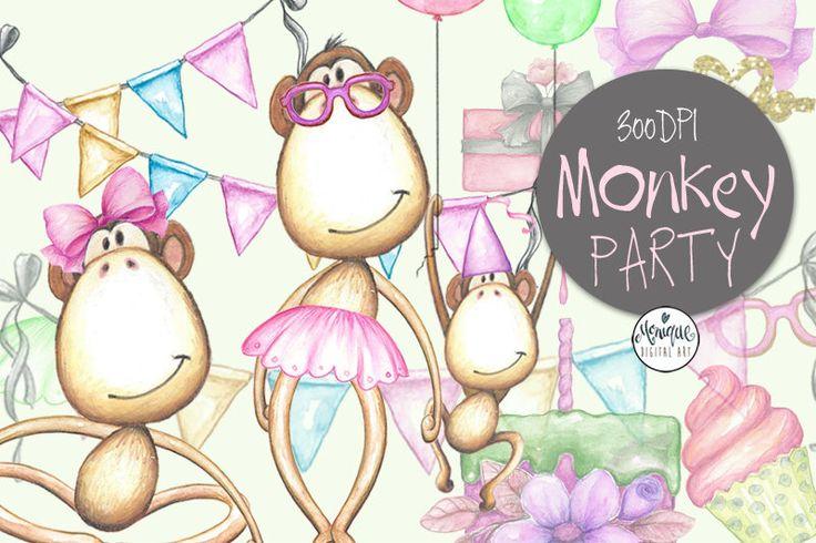 Monkey Clipart Watercolor,Cute Monkeys,Monkey Invitation,Monkey Party,Birthday,Printable,Instant Download, Planner Stickers,Invitation by MoniqueDigitalArt on Etsy