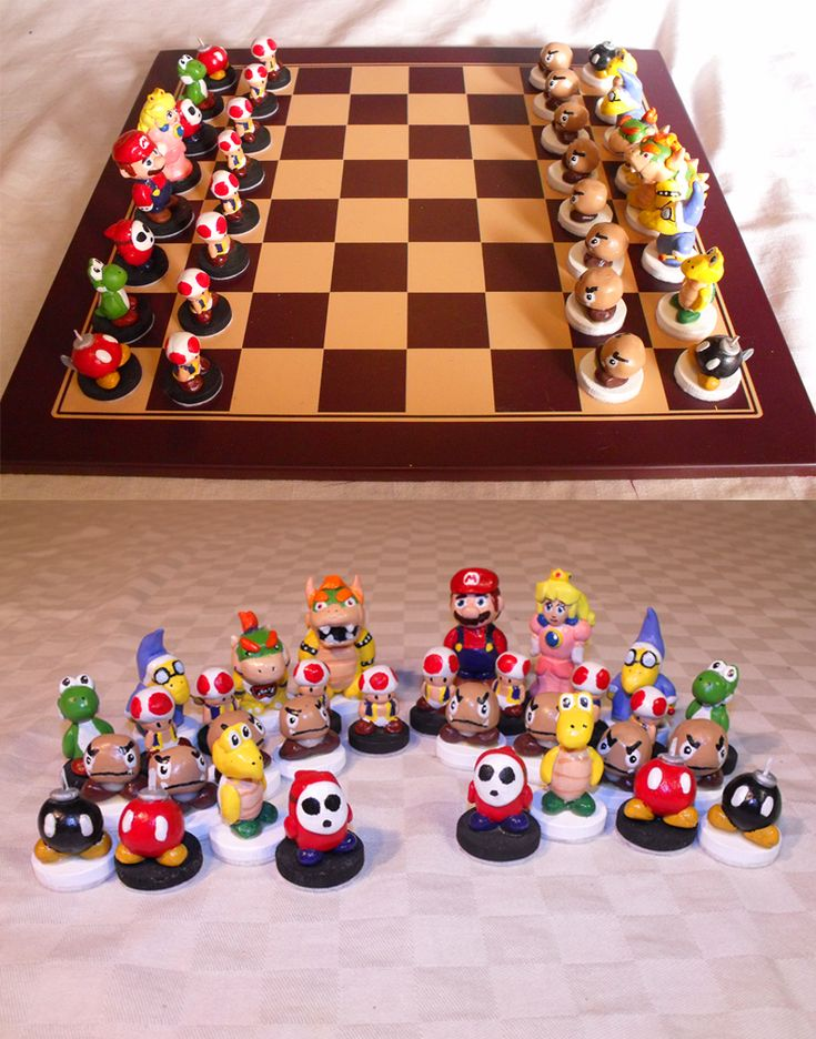 National Gaming Day - Make your own chess set using polymer clay .... check out this Nintendo themed one!