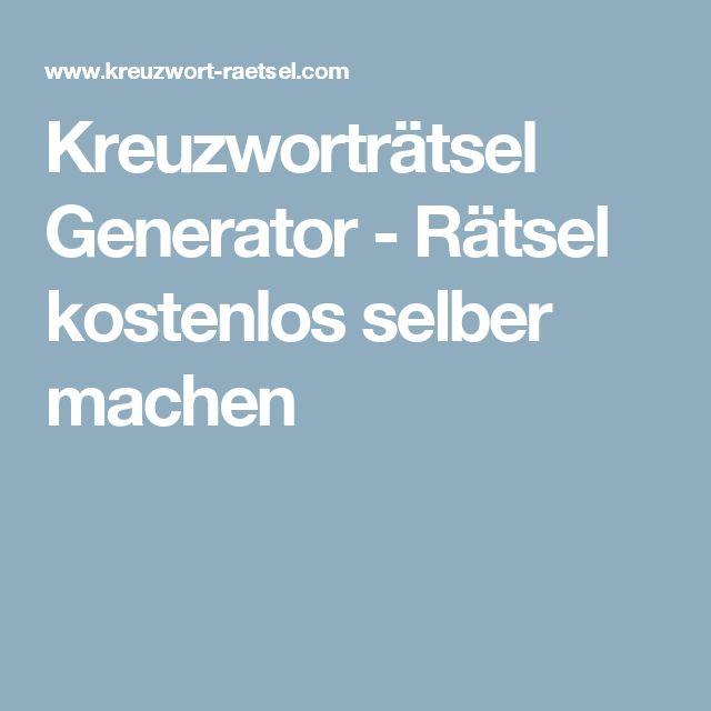 Kreuzworträtsel Generator Rätsel Kostenlos Selber Machen Kreativ