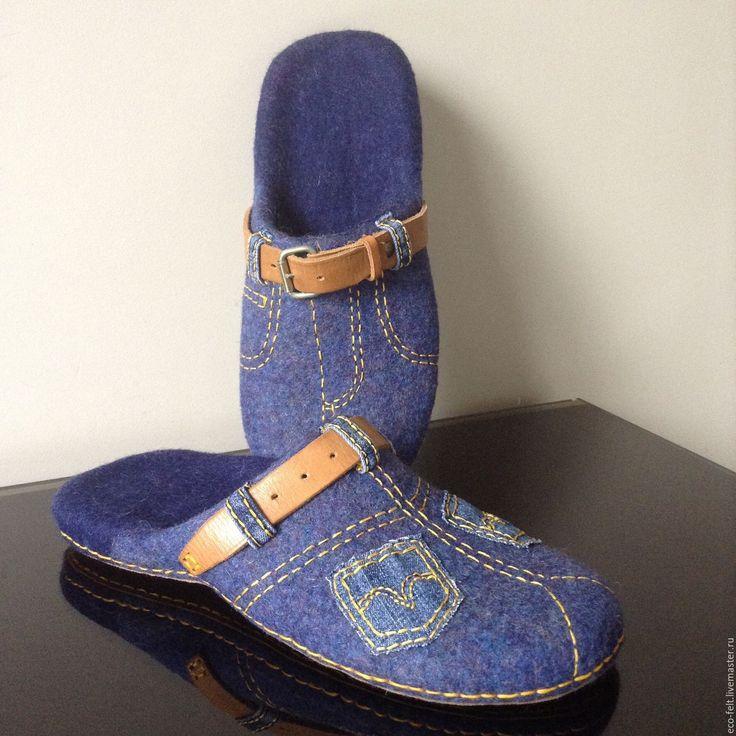 """Купить Тапочки """"Джинса"""" - синий, Тапочки ручной работы, тапочки домашние, тапочки из шерсти"""