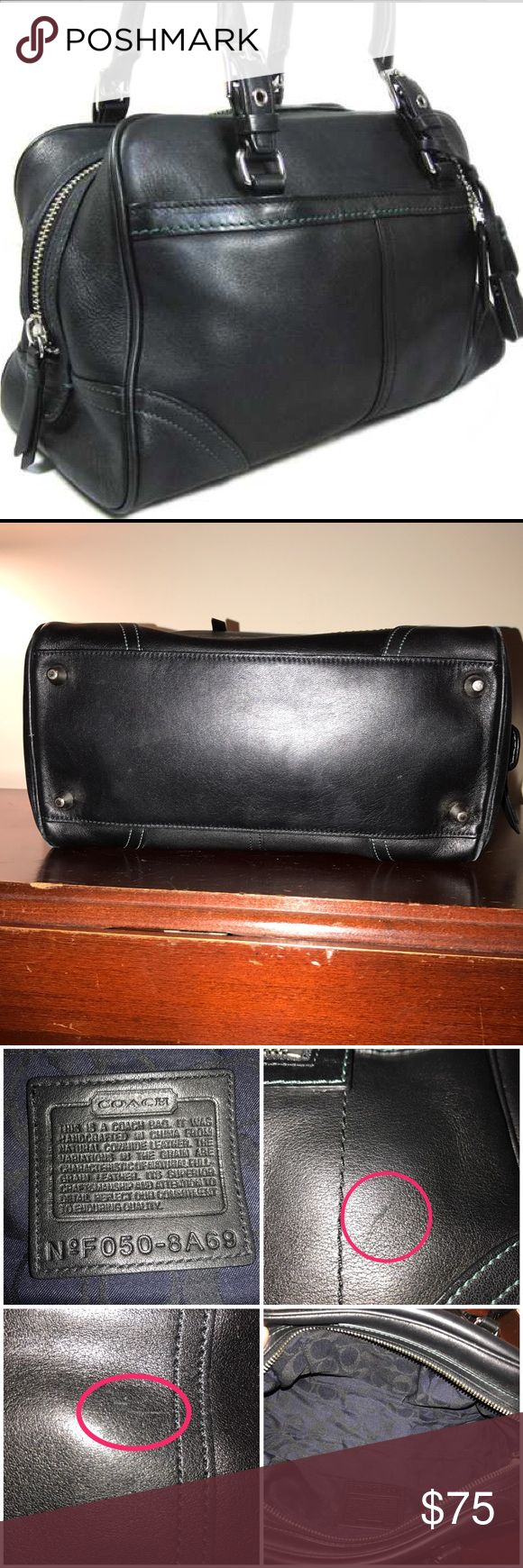 """Coach Boston Black Satchel Gently used Coach satchel in black leather with teal stitching. Has a couple scruff marks as seen in pictures. Comes with Coach protective bag. Measurements 11"""" x 5"""" x 7"""". Coach Bags Satchels"""