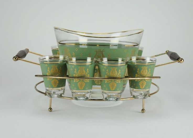 Mid Century Modern Punch Bowl and Glasses