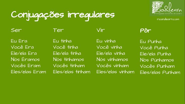 The Pretérito Imperfeito (past imperfect tense) has only 4 irregular verbs: ser (to be), ter (to have), vir (to come) and pôr (to put).