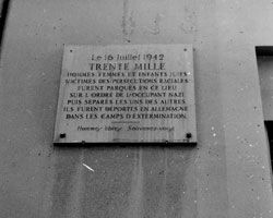 A memorial plaque placed on the entrance wall to the Vel' d'Hiv (the Winter Stadium, or Velodrome d'Hiver), where Jews were detained en-mass...