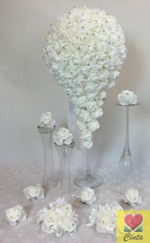 White-Foam-Diamante-Rose-Flowers-Teardrop-Wedding-Bridal-Bouquet-Set