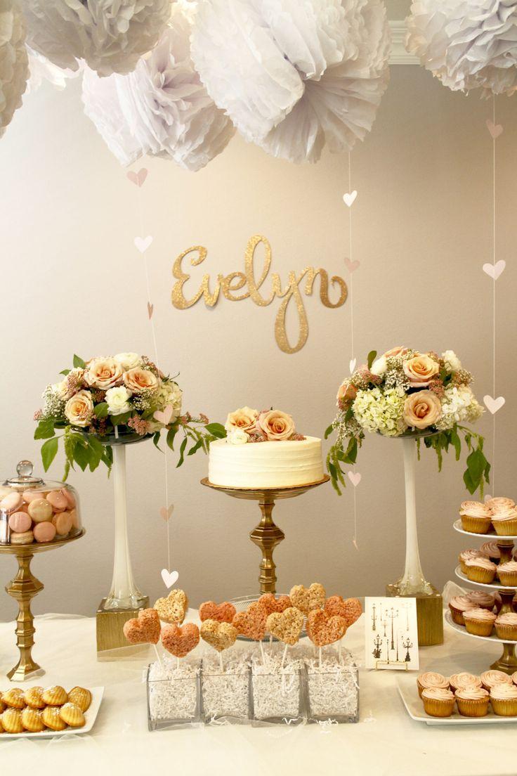 Romantic, elegant, feminine chic, vintage inspired blush pink, gold, cream, ivory French/Paris themed first birthday