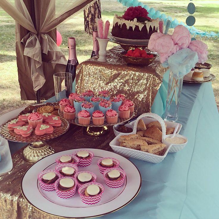 Bridal shower decor gold mint pink theme food platters display vintage modern clean bright feminine outdoors