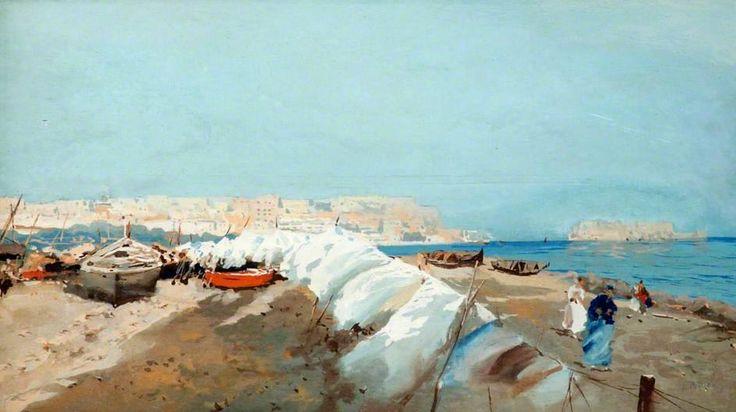 Attilio Pratella (1856-1949)   Veduta di Napoli   Tempera su tavola, 16 x 29 cm