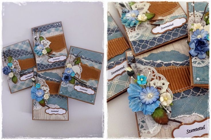 Handmade quilted card collection in blue - made by me! www. szivtolszivig.blogspot.com