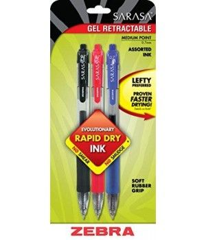 Zebra Sarasa Rapid Dry Ink Gel Retractable Pen, 0.7Mm, Business Assorted, 3 Pack (46803)  Sarasa Gel Retractable Pens contain a smooth-flowing, water-based, pigment gel ink. Soft rubber grip provides writing comfort and control. Smooth gel ink delivers scratch-free writing. Translucent barrel provides visible ink color and supply. Ink is acid-free and archival quality. Pens are refillable with Zebra's JF-Refill.  Features : No smears, no smudges - ideal for the left handed *Rapid Dry Ink...