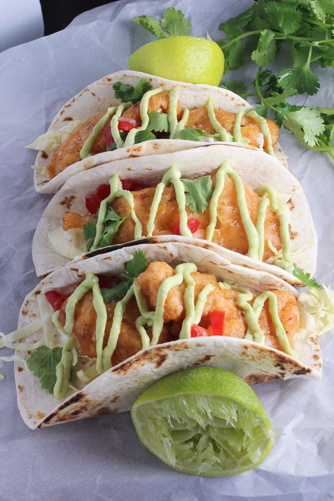 Chipotle Beer Battered Fish Tacos with Avocado Cream Bites of Bri