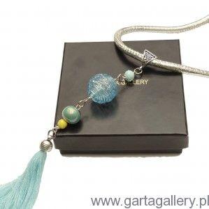 Naszyjnik z kolorowym wisiorem BOHO i półszlachetnymi kamieniami NIMFA
