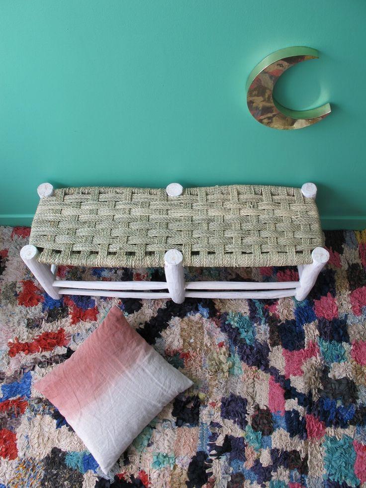 Banc artisanal / Bohemian wicker bench, �120.00 by LES PETITS BOHEMES