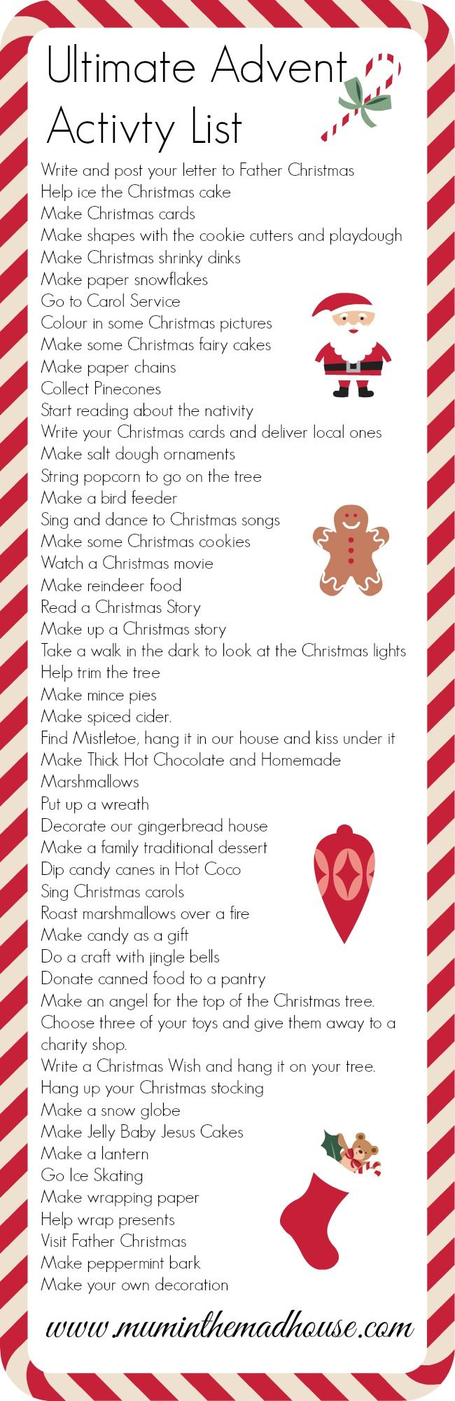 50 simple and easy activities for advent and advent calendars perfect for the lead up to Christmas from Mum in the Mad House