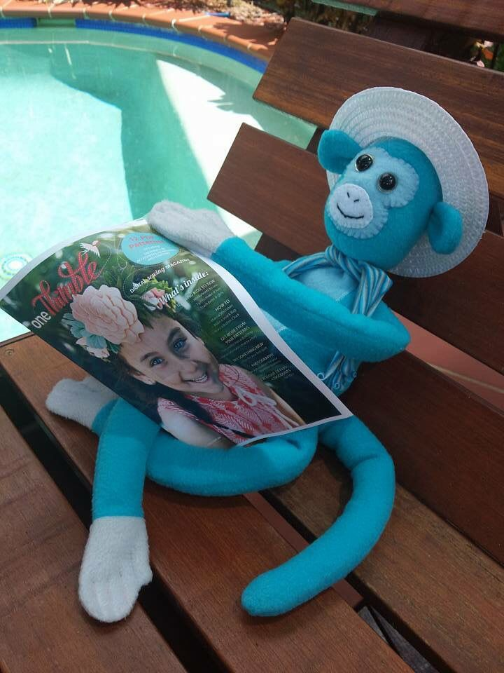 Kylie Weber made this gorgeous monkey from my 'Cheeky Monkey' softie pattern.  He's just chilling out by the pool & reading One Thimble e-mag!  Love him!  Thanks Kylie for sharing.  You can get the pattern for my Cheeky Monkeys from onethimble.com.au Issue 9 avail. Now!