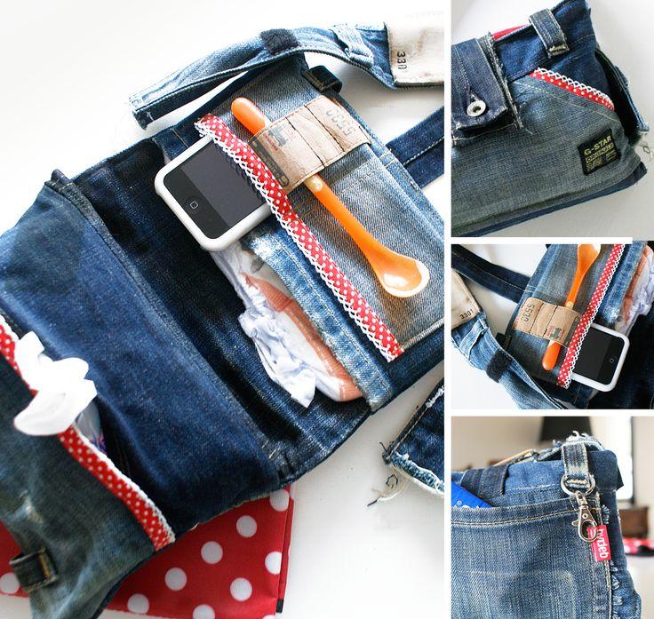 Klein luiertasje gemaakt van een oude spijkerbroek. Small diaperbag made of an old jeans.#diy pattern