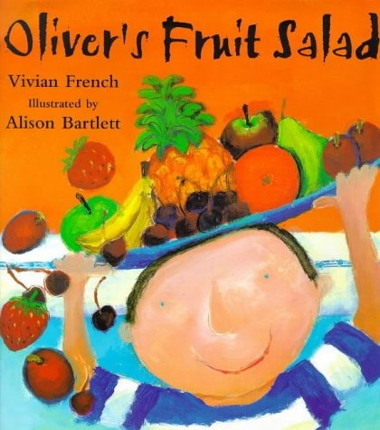 Oliver's Fruit Salad by Viv French. Themes: PHSE, healthy eating. Age: 4+ Description: A friendly, round-headed cast with pin-dot blue eyes and broad smilles introduce the tasty possibilities of fresh fruit withour ever dropping the vaguest hint of (shh!) nutrition, and the luscious, sunshiny palette of Bartlett's acrylic paintings will set the taste buds tingling. How about this juicy selection just before snack time?
