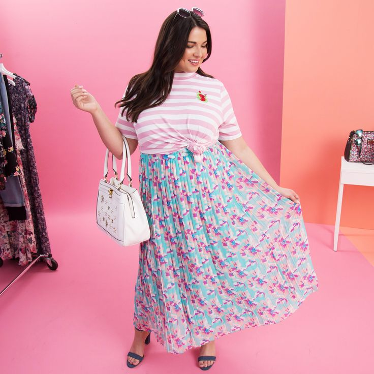 Print Maxi dress The plus size floral maxi dress is always a must for spring. Layer a stripe or solid shirt over the dress and knot it for a completely new look. Shop Ashley Nell Tipton collection for Boutique + and create plus size outfits by mixing patterns.
