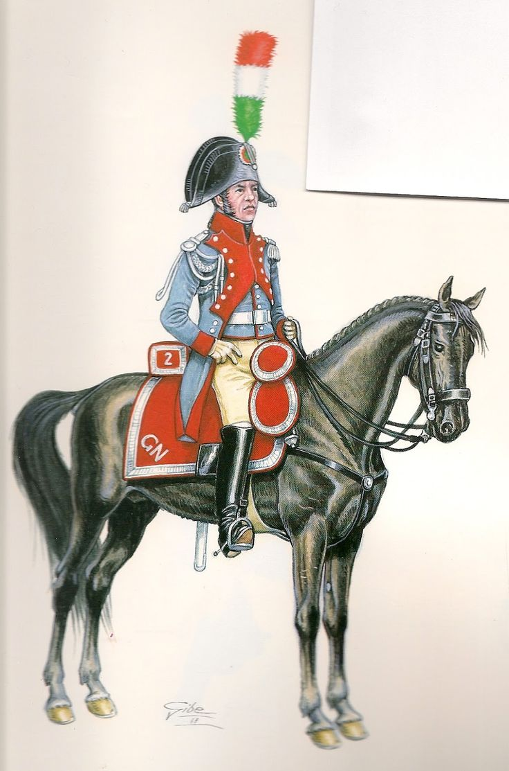 Cisalpine Republic; National Gendarmerie, Officer 1796 Note regulations defined the coat colour as Iron-grey, in reality it was a pale grey blue.