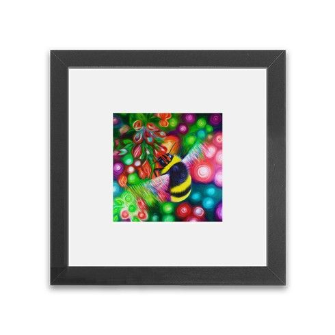 Bumble Bee and Flowers Framed Print by simon-knott-fine-artist at zippi.co.uk