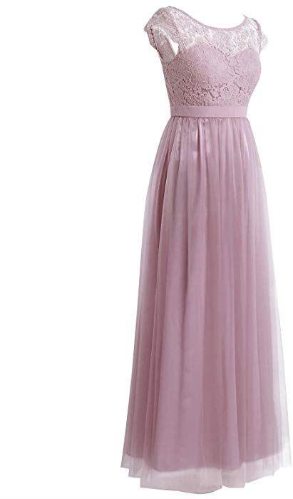 01efaa0e40f123 iEFiEL Damen Kleid festlich Spitzenkleid Cocktailkleid Ärmellos Elegante  Hochzeit Kleider Lange Brautjungfernkleid Altrosa 42 (Herstellergröße