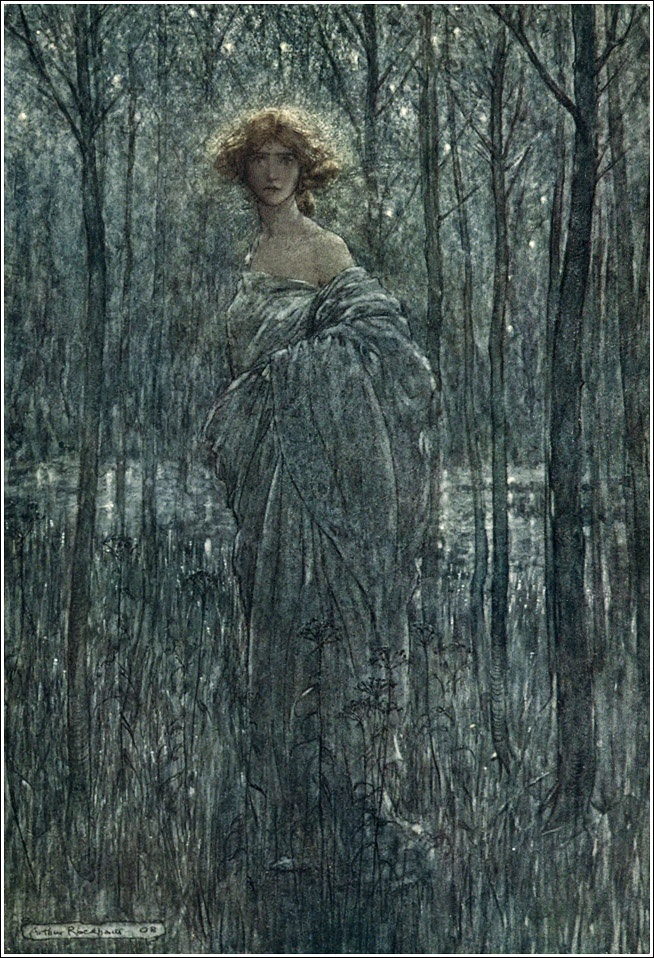 Arthur Rackham: A midsummer-night's dream - Act III, Scene II: Fair Helena, who more engilds the night Than all yon fiery oes and eyes of light