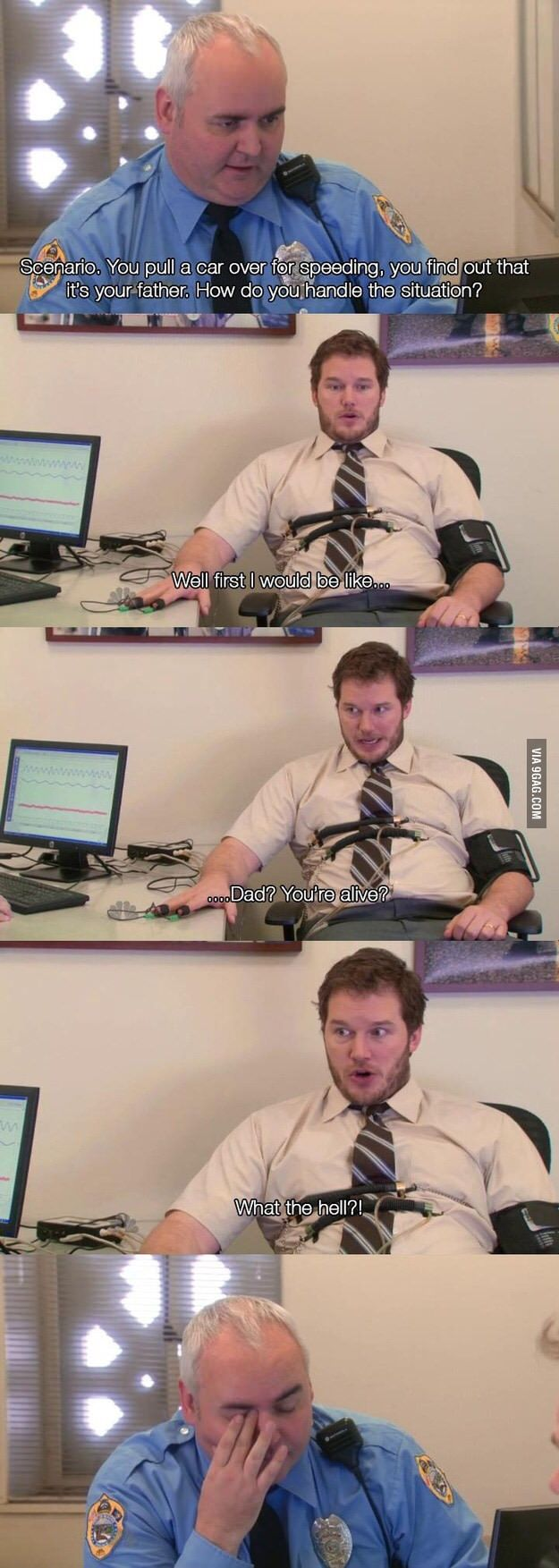 Andy Dwyers police test (parks & recreation) - 9GAG