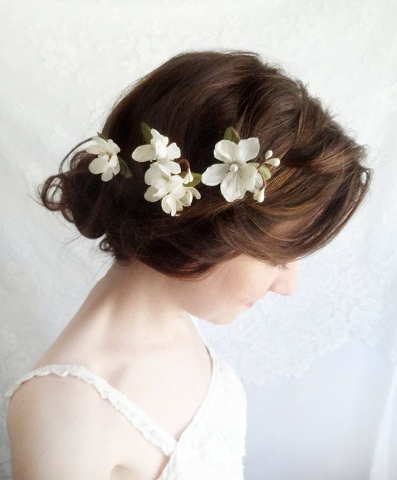 off white flower hair pins bridal hair accessories by thehoneycomb