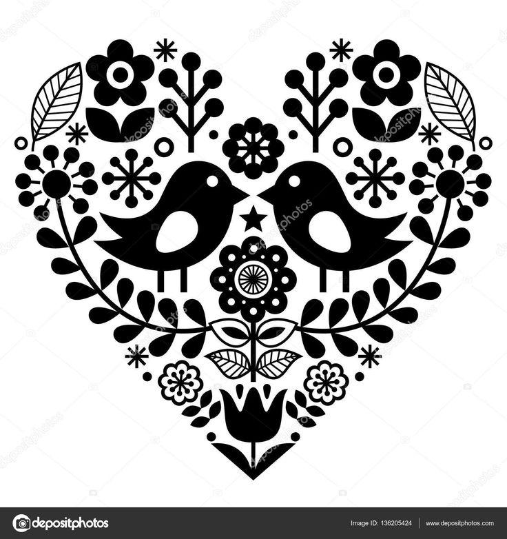Arte popular padrão com pássaros e flores - finlandês inspirado, dia dos namorados