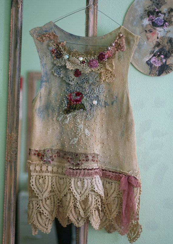 hand embroidered,  textile collage, wearable art, hand dyed, hand beaded details,