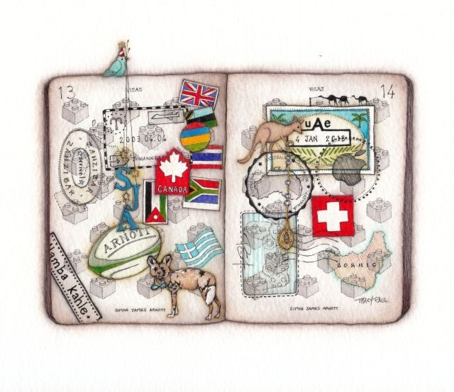 Simon's Passport. A bespoke commission for a 13 year old boy who loves to travel!