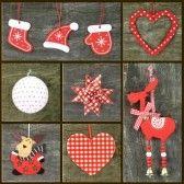 Kerst ornamenten op houten achtergrond, Collage van kerst foto's stock photography
