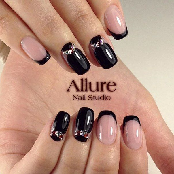 Black and beige nails, Black dress nails, Black nails with rhinestones, Business…