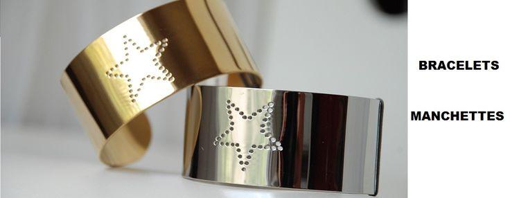 Bracelets manchettes en acier.